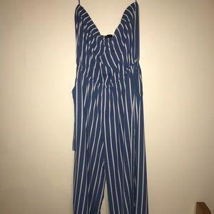 Forever21 blue striped romper